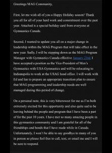 Jason Woodnick to be named USA Gymnastics Men's Vice President